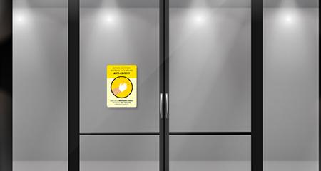 Adesivo vetrina utilizzo Guanti